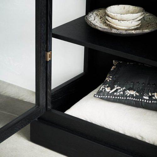 Close up image of Lindebjerg Design Dark Oak Vitrine Cabinet bottom