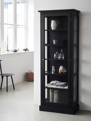 Image of Lindebjerg Design Dark Oak N1 vitrine Cabinet in a white colored hallway with interior