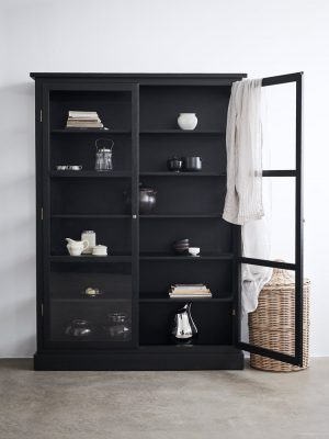 Image of Lindebjerg Design Dark Oak N2 vitrine Cabinet in a white colored room with interior