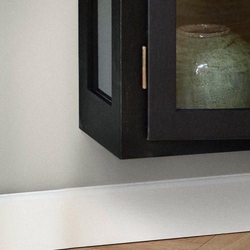 Close up image of Lindebjerg Design Dark Oak N4 vitrine Cabinet bottom