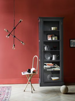 Image of Lindebjerg Design Color N1 Anthracite vitrine Cabinet in a dark red colored livingroom with interior