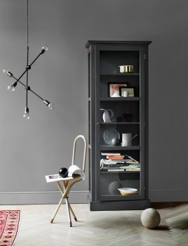 Image of Lindebjerg Design Color N1 Anthracite vitrine Cabinet in a dark gray colored livingroom with interior