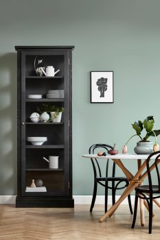 Image of Lindebjerg Design Dark Oak N1 vitrine Cabinet in use with interior in a green room