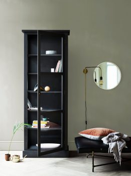 Image of Lindebjerg Design Dark Oak N1 vitrine Cabinet in use with interior in beige room