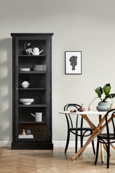 Image of Lindebjerg Design Dark Oak N1 vitrine Cabinet in a beige dining room with interior