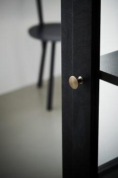 Close up image of Lindebjerg Design Dark Oak N1 vitrine Cabinet with interior