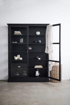 Image of Lindebjerg Design Dark Oak N2 vitrine Cabinet with one open door in use