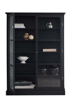 Product image of Lindebjerg Design Dark Oak N2 vitrine Cabinet with one open door in use