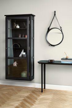 Image of Lindebjerg Design Dark Oak N4 vitrine Cabinet in use with interior in beige room